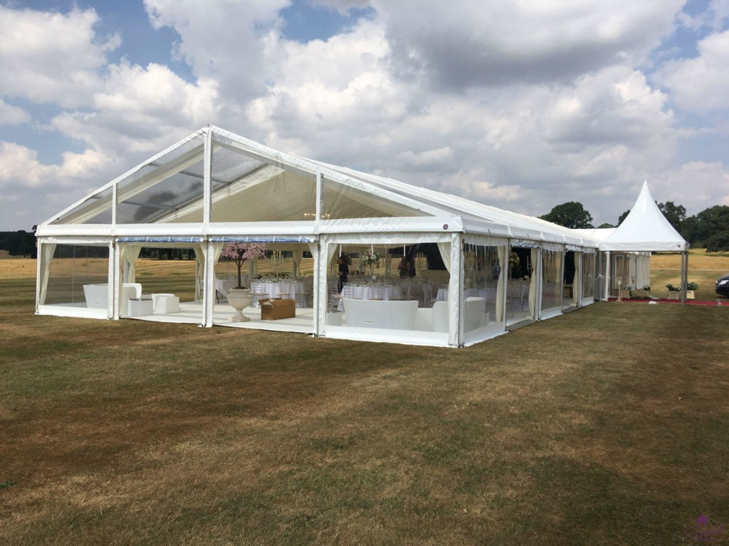 12m x 30m with clear roof section and entrance pagoda with red carpet