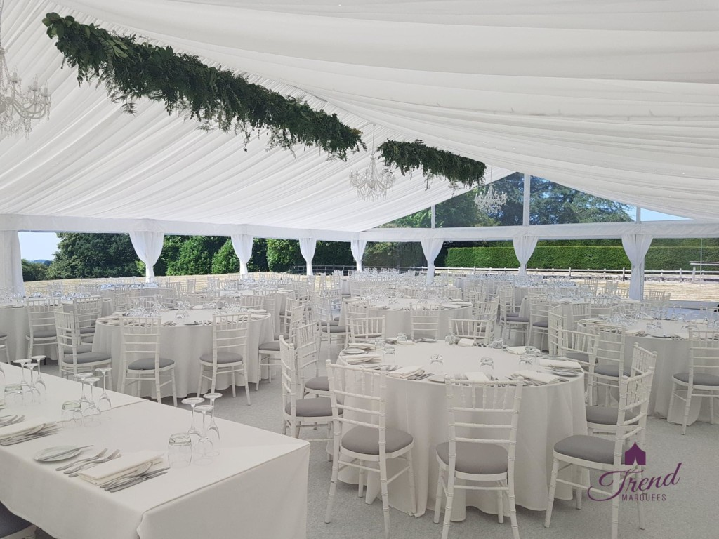 12m x 18m White Dining Marquee for 160 guests with clear end gable and panoramic views