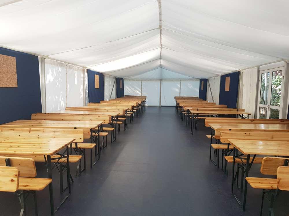 temporary marquee coronavirus classroom